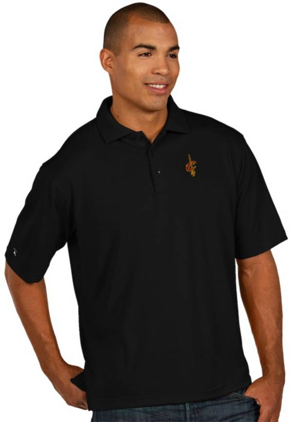 Antigua Men's Cleveland Cavaliers Xtra-Lite Black Pique Performance Polo product image