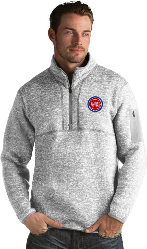 Antigua Men's Detroit Pistons Fortune Grey Half-Zip Pullover product image