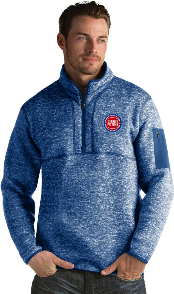 Antigua Men's Detroit Pistons Fortune Royal Half-Zip Pullover product image