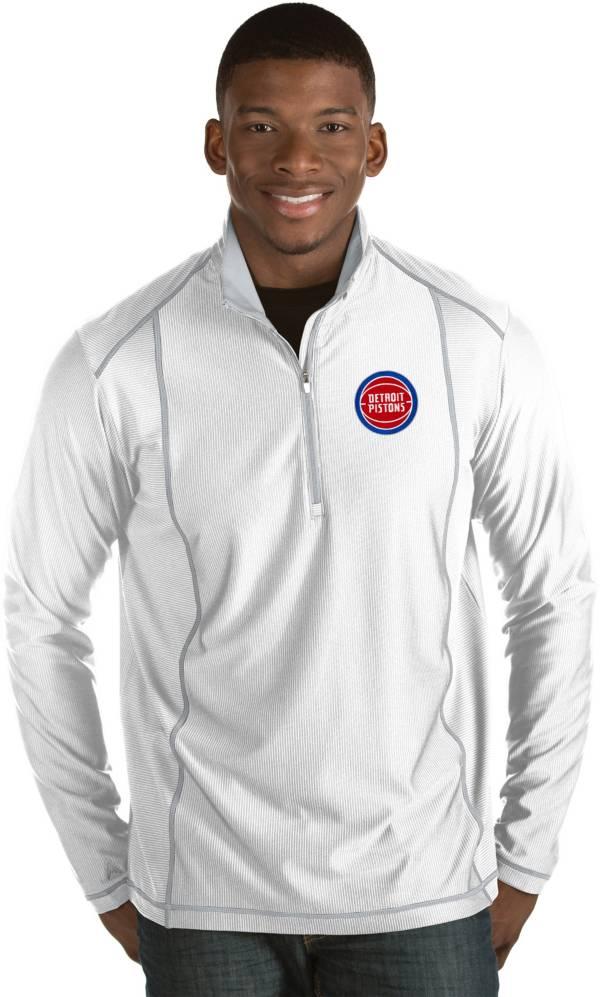 Antigua Men's Detroit Pistons Tempo White Quarter-Zip Pullover product image