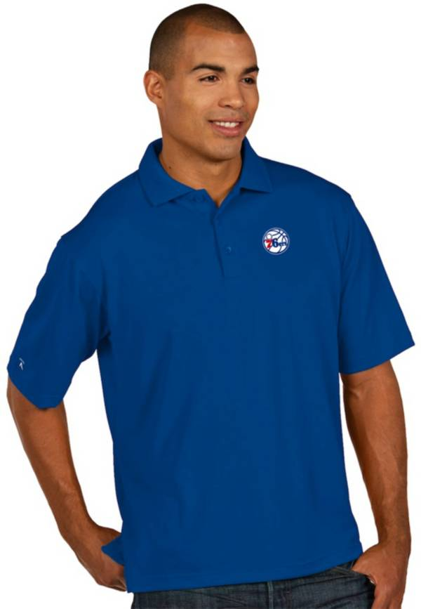 Antigua Men's Philadelphia 76ers Xtra-Lite Royal Pique Performance Polo product image
