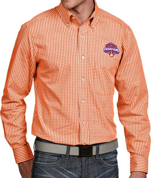 Antigua Men s 2018 National Champions Clemson Tigers Orange Associate Button  Down Long Sleeve Shirt. noImageFound. 1 4f7dcf262