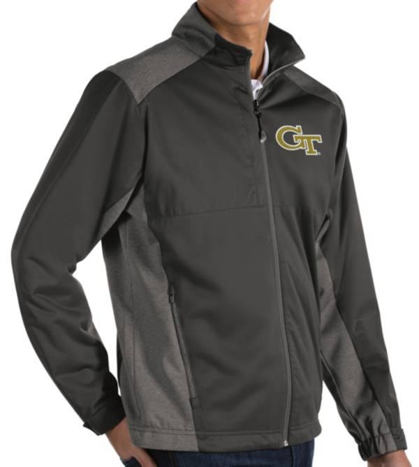 Antigua Men's Georgia Tech Yellow Jackets Grey Revolve Full-Zip Jacket product image