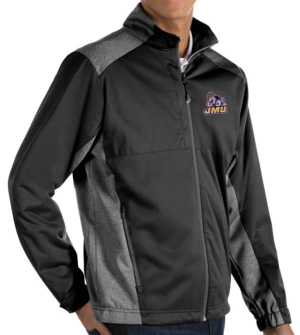 Antigua Men's James Madison Dukes Revolve Full-Zip Black Jacket product image