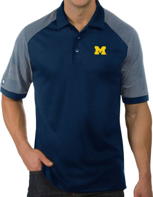 Antigua Men's Michigan Wolverines Blue Engage Performance Polo product image