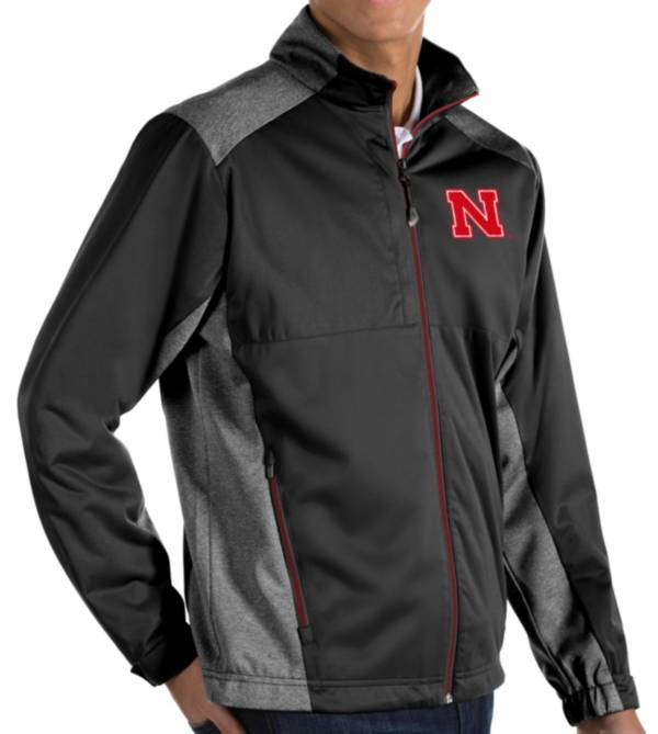 Antigua Men's Nebraska Cornhuskers Revolve Full-Zip Black Jacket product image