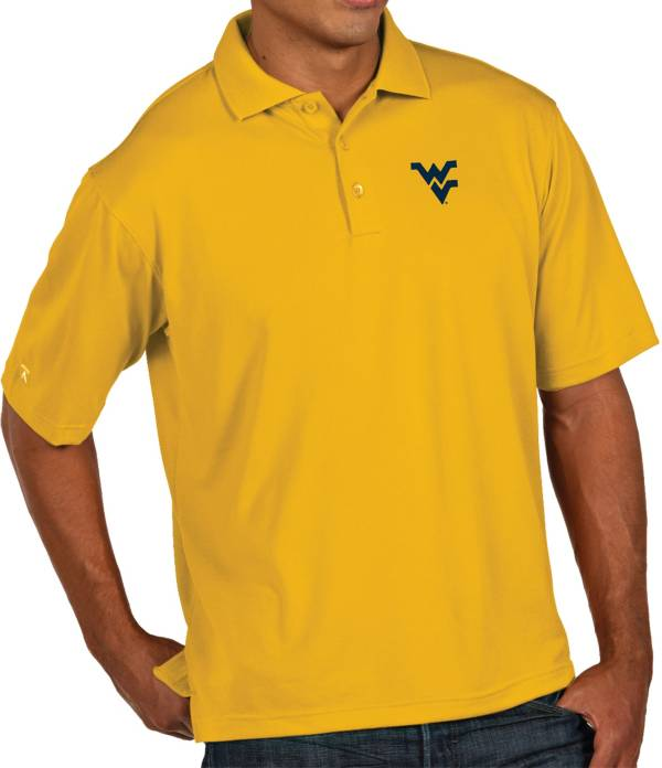 Antigua Men's West Virginia Mountaineers Gold Pique Xtra-Lite Polo product image