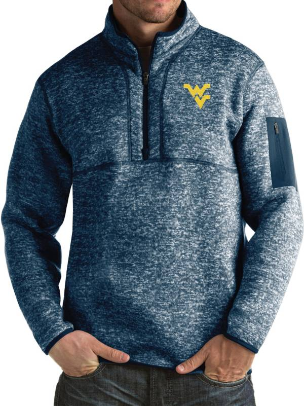 Antigua Men's West Virginia Blue Fortune Pullover Jacket product image