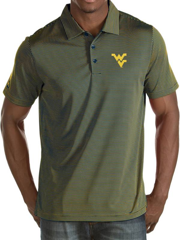 Antigua Men's West Virginia Mountaineers Blue/Gold Quest Performance Polo product image