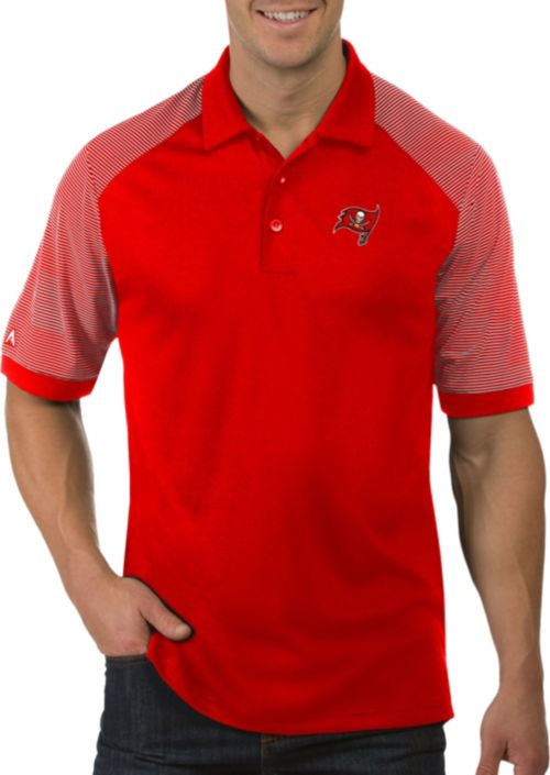 710f5697 Antigua Men's Tampa Bay Buccaneers Engage Red Performance Polo.  noImageFound. 1