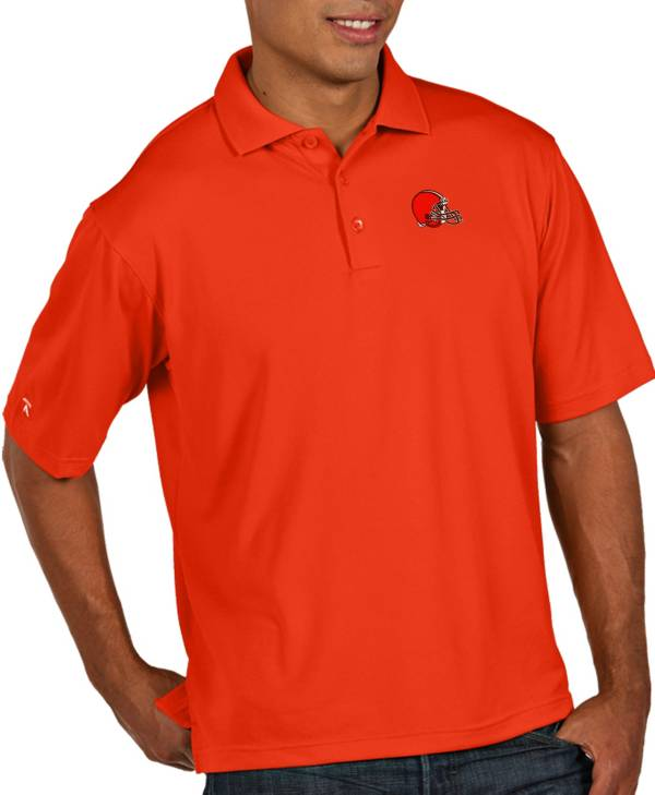 Antigua Men's Cleveland Browns Pique Xtra-Lite Performance Orange Polo product image