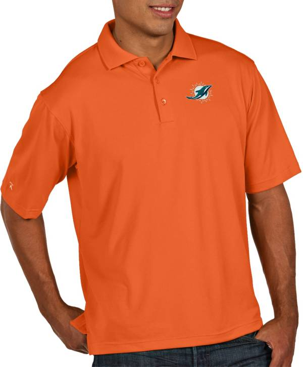 Antigua Men's Miami Dolphins Pique Xtra-Lite Performance Mango Polo product image