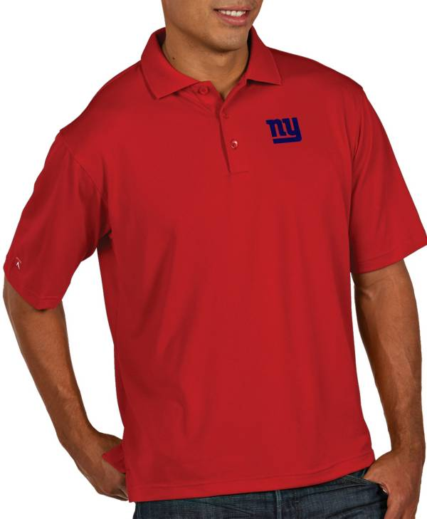 Antigua Men's New York Giants Pique Xtra-Lite Performance Red Polo product image