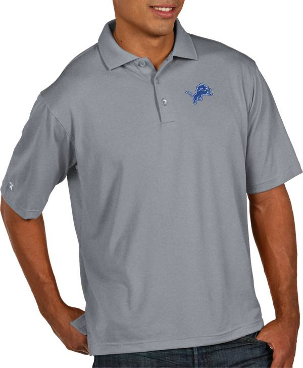 Antigua Men's Detroit Lions Pique Xtra-Lite Performance Grey Polo product image