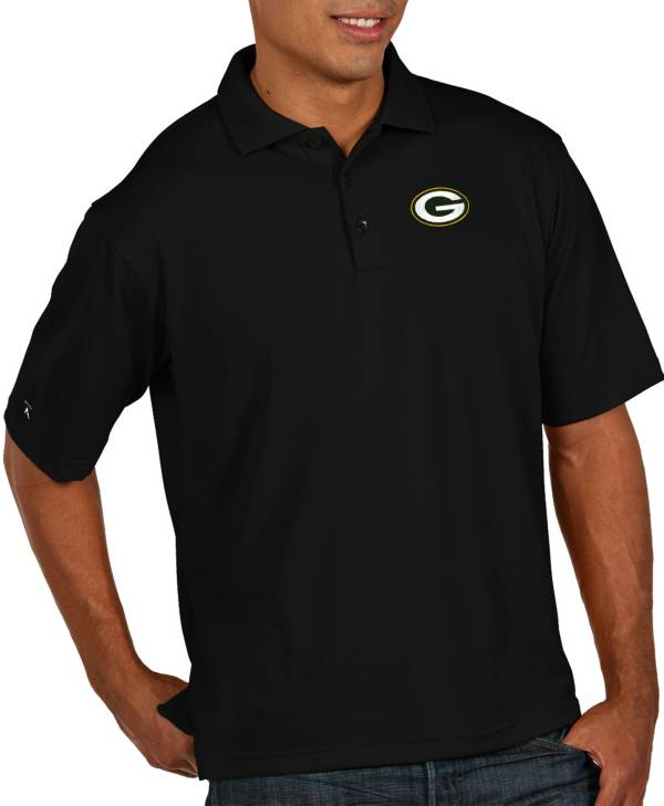 Antigua Men's Green Bay Packers Pique Xtra-Lite Performance Black Polo product image