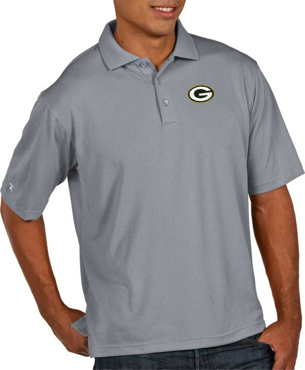 Antigua Men's Green Bay Packers Pique Xtra-Lite Performance Grey Polo product image