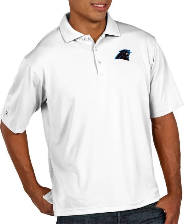 Antigua Men's Carolina Panthers Pique Xtra-Lite Performance White Polo product image