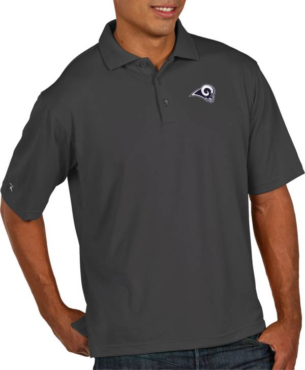 Antigua Men's Los Angeles Rams Pique Xtra-Lite Performance Smoke Polo product image