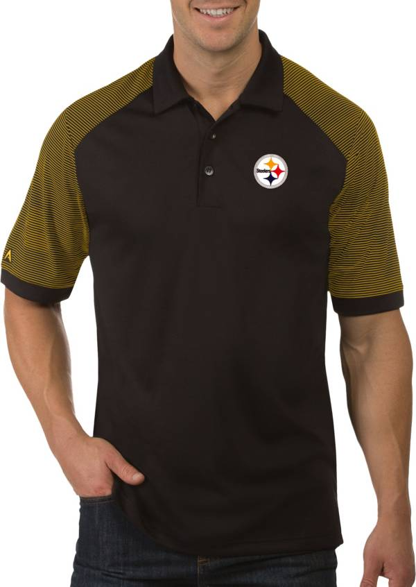 Antigua Men's Pittsburgh Steelers Engage Black Performance Polo product image