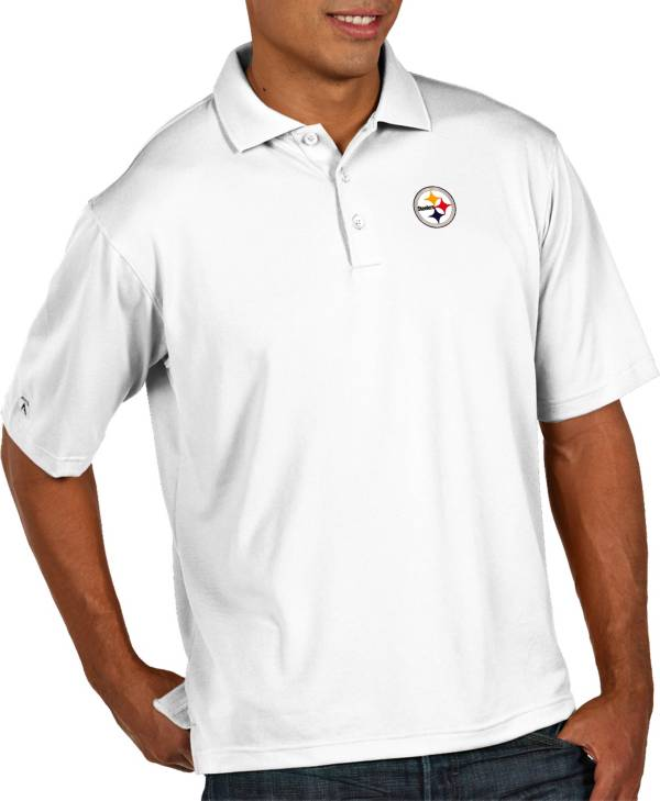 Antigua Men's Pittsburgh Steelers Pique Xtra-Lite Performance White Polo product image