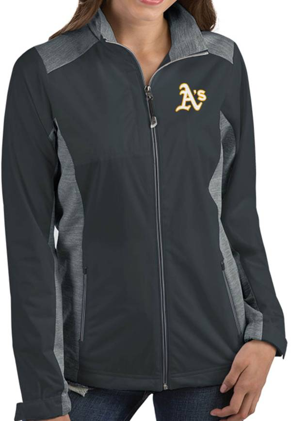 Antigua Women's Oakland Athletics Revolve Grey Full-Zip Jacket product image