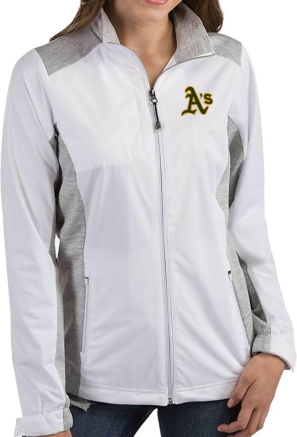 Antigua Women's Oakland Athletics Revolve White Full-Zip Jacket product image