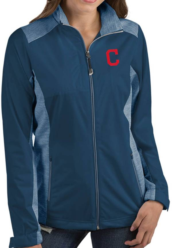 Antigua Women's Cleveland Indians Revolve Navy Full-Zip Jacket product image