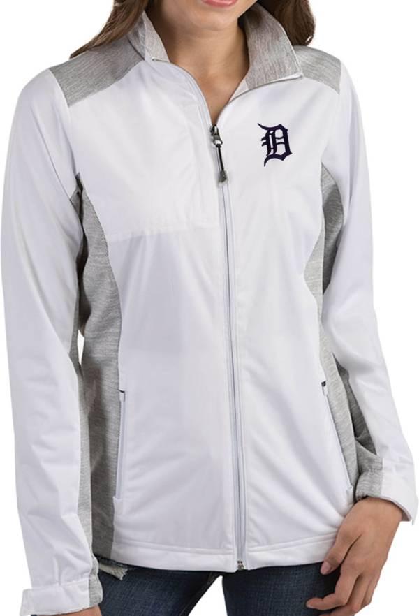 Antigua Women's Detroit Tigers Revolve White Full-Zip Jacket product image