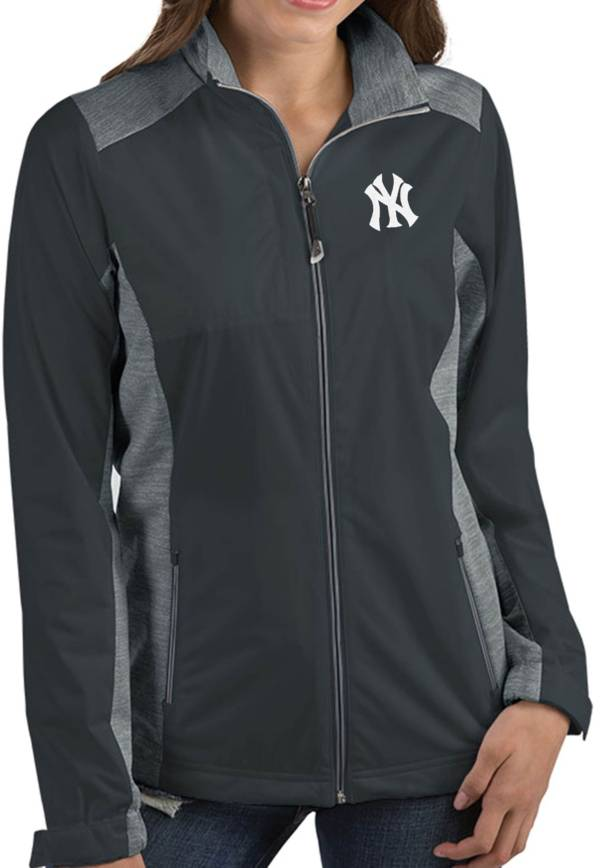 Antigua Women's New York Yankees Revolve Grey Full-Zip Jacket product image