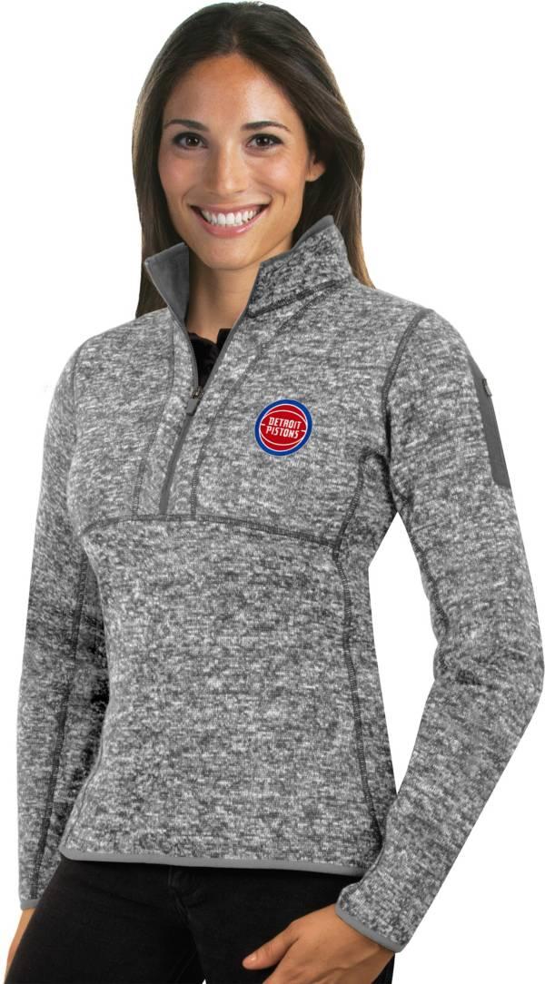 Antigua Women's Detroit Pistons Fortune Grey Half-Zip Pullover product image
