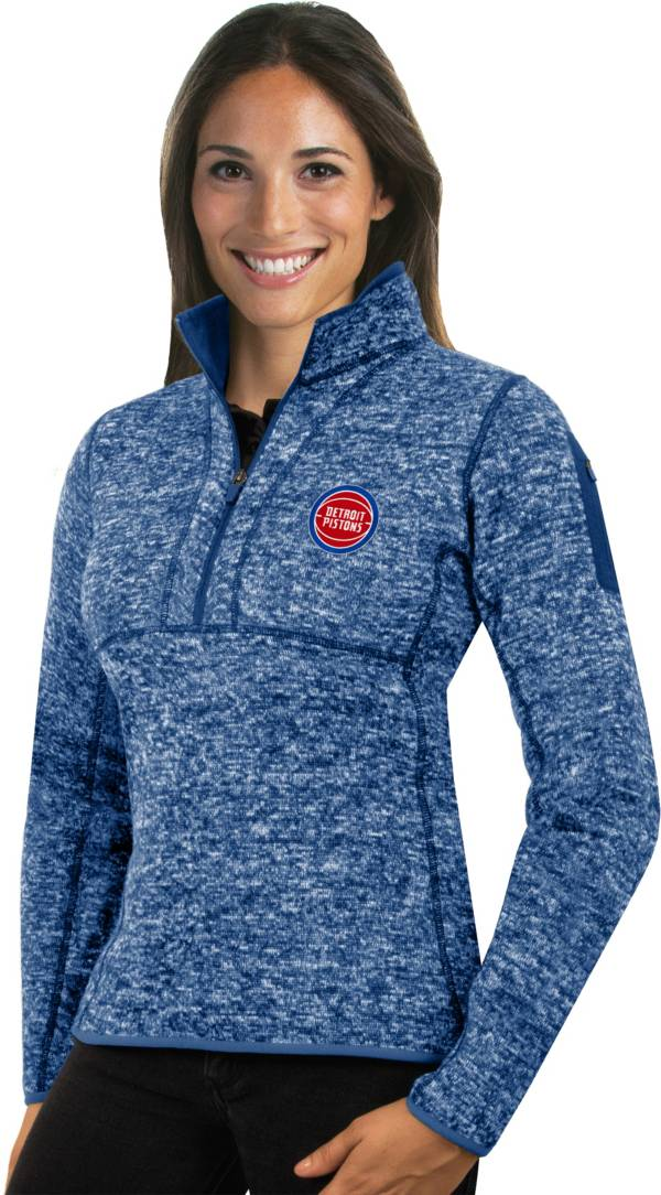 Antigua Women's Detroit Pistons Fortune Royal Half-Zip Pullover product image