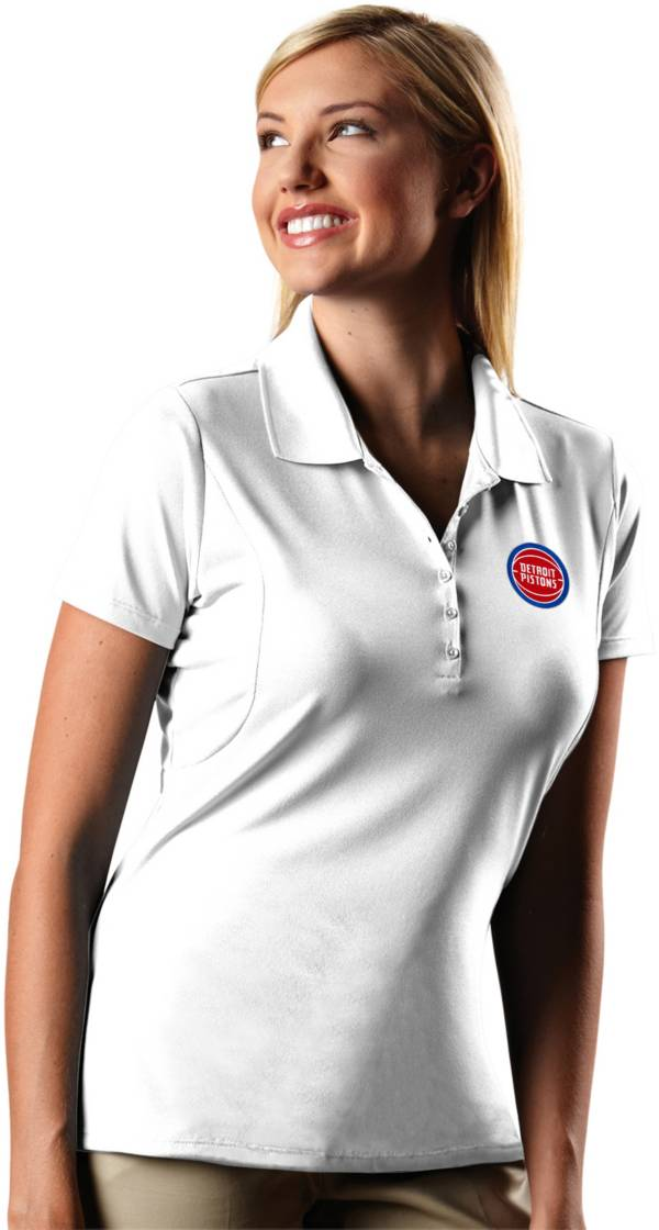 Antigua Women's Detroit Pistons Xtra-Lite White Pique Performance Polo product image