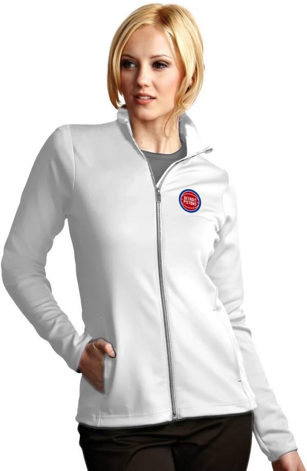 Antigua Women's Detroit Pistons Leader White Full-Zip Fleece product image