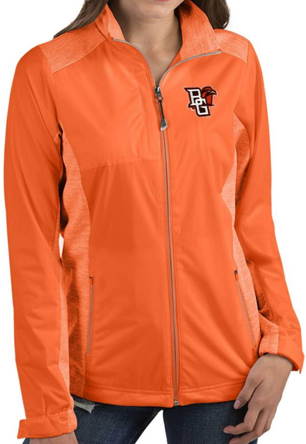 Antigua Women's Bowling Green Falcons Orange Revolve Full-Zip Jacket product image