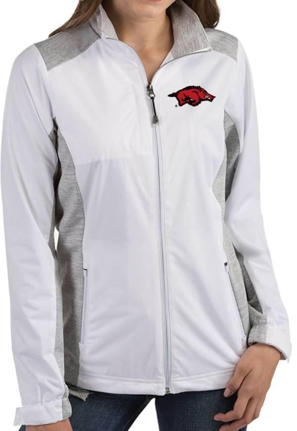 Antigua Women's Arkansas Razorbacks Revolve Full-Zip White Jacket product image