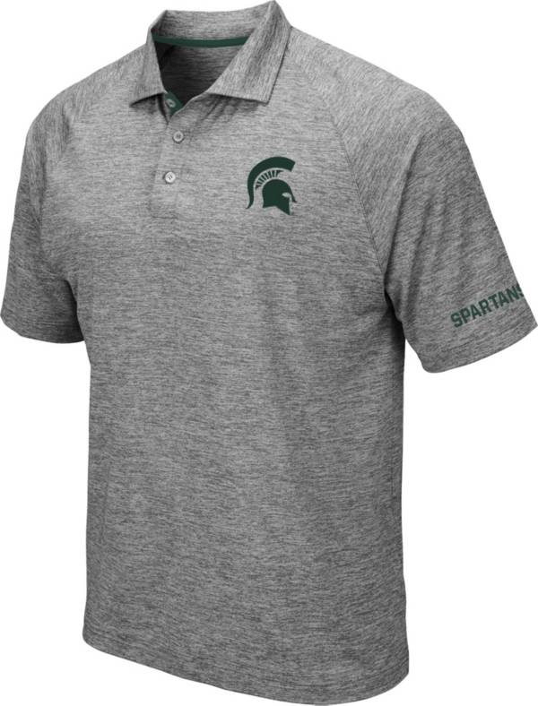 Colosseum Men's Michigan State Spartans Grey Chip Shot Polo product image