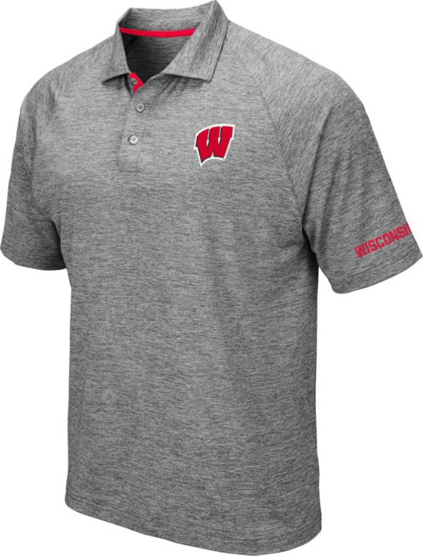Colosseum Men's Wisconsin Badgers Grey Chip Shot Polo product image