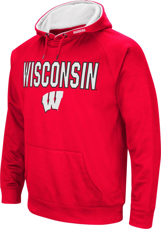 214733709 Colosseum Men's Wisconsin Badgers Red Fleece Pullover Hoodie