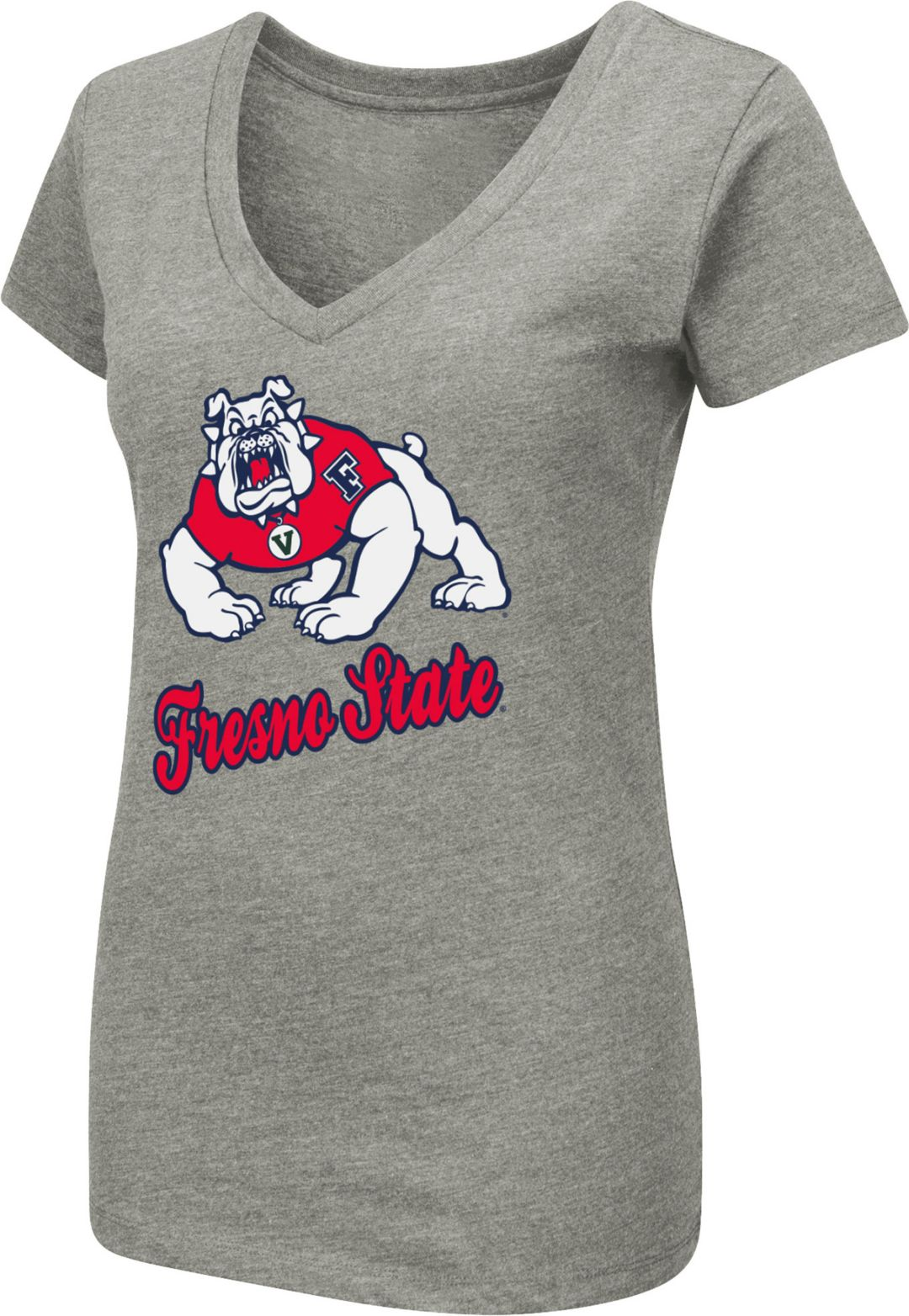 206b3cf45 Colosseum Women's Fresno State Bulldogs Grey Dual Blend V-Neck T-Shirt.  noImageFound. 1