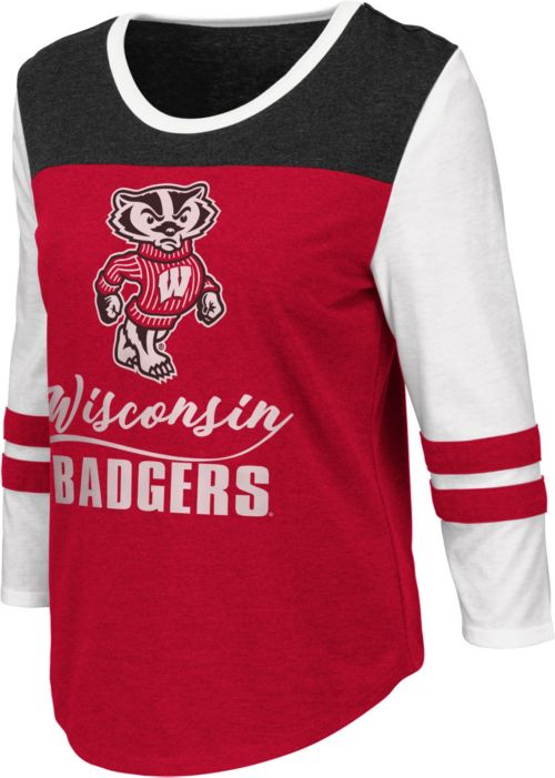 Colosseum Women s Wisconsin Badgers Red ¾ Sleeve Raglan T-Shirt ... f84427b61