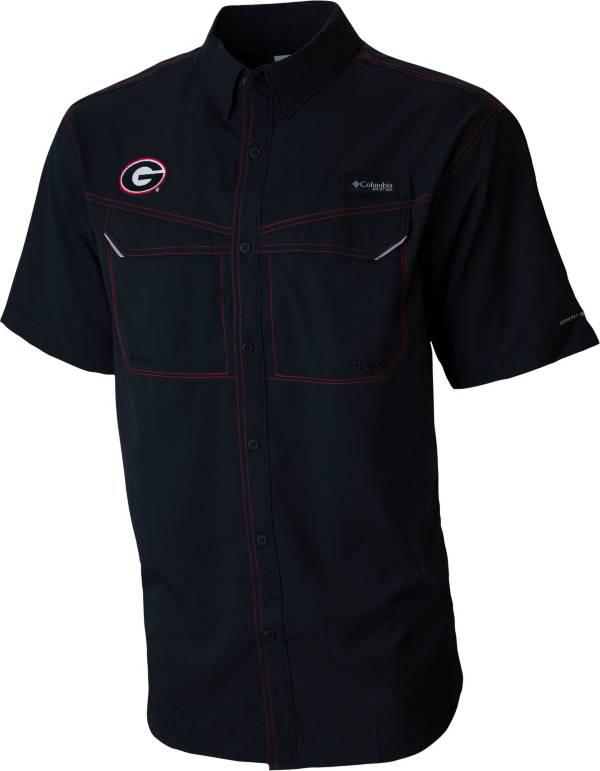 Columbia Men's Georgia Bulldogs Low Drag Offshore Short Sleeve Button Down Performance Black Shirt product image