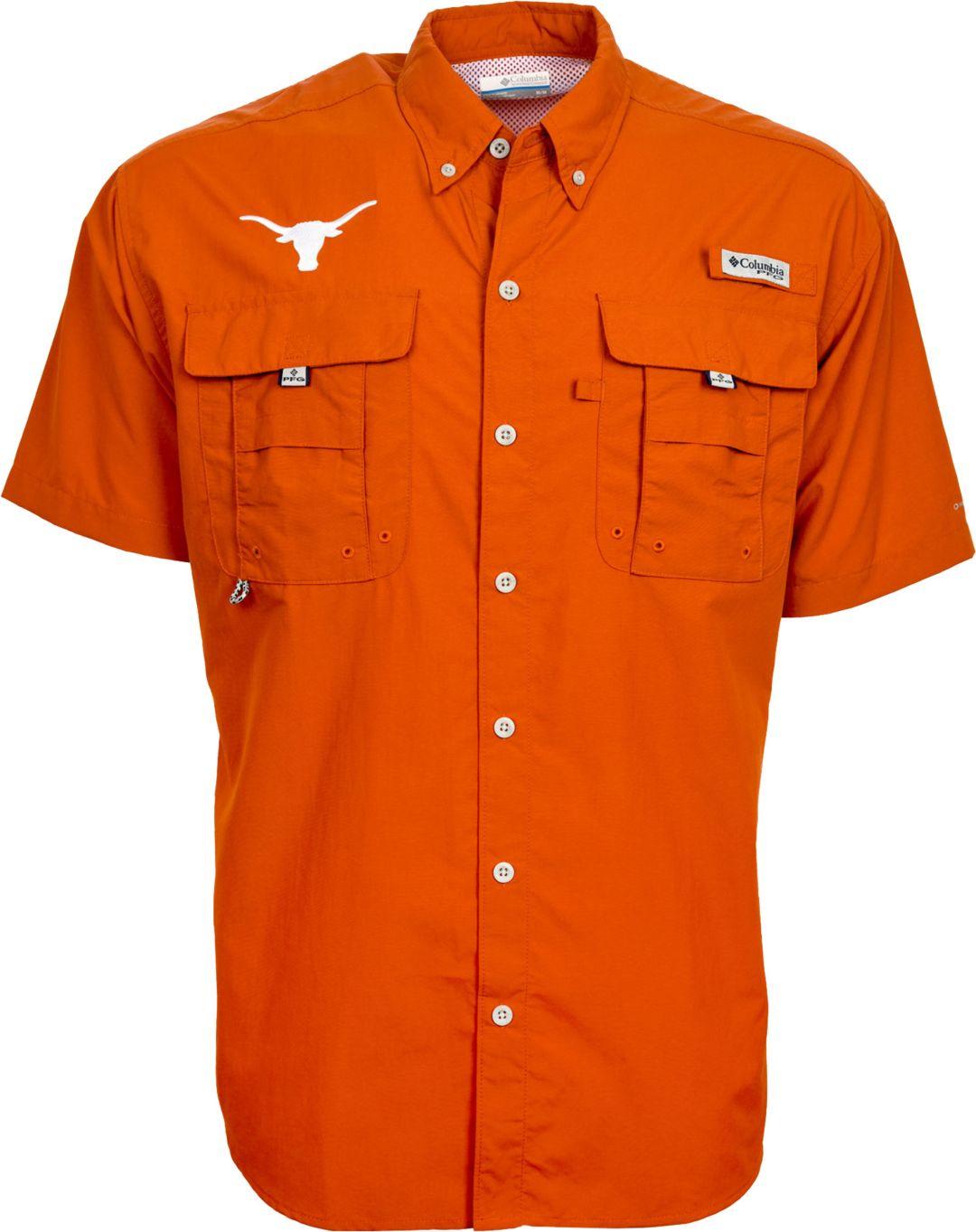 312e07a4 Columbia Men's Texas Longhorns Burnt Orange PFG Bahama Button Down Shirt
