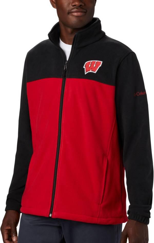 Columbia Men's Wisconsin Badgers Black Flanker Full-Zip Fleece Jacket product image
