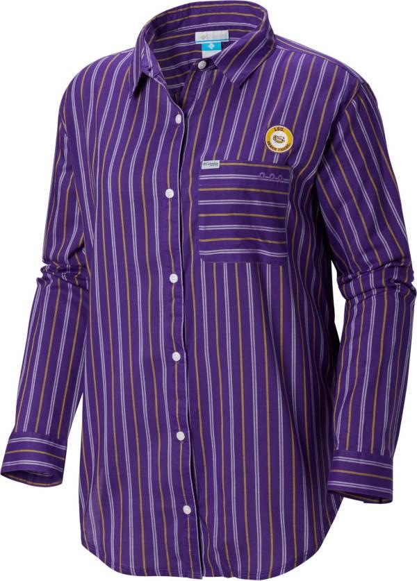 Columbia Women's LSU Tigers Purple Sun Drifter Long Sleeve Button Down Shirt product image