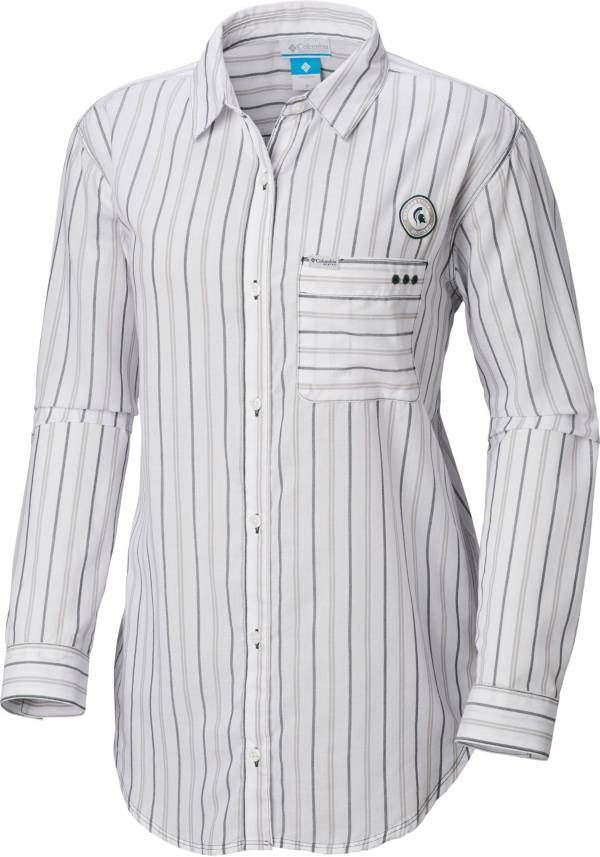 Columbia Women's Michigan State Spartans Sun Drifter Long Sleeve Button Down White Shirt product image