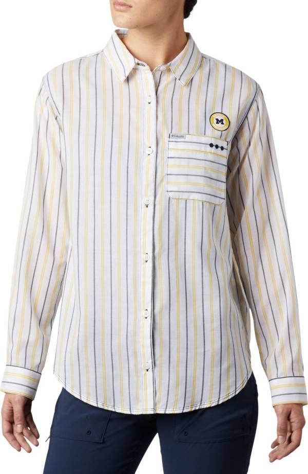 Columbia Women's Michigan Wolverines Sun Drifter Long Sleeve Button Down White Shirt product image