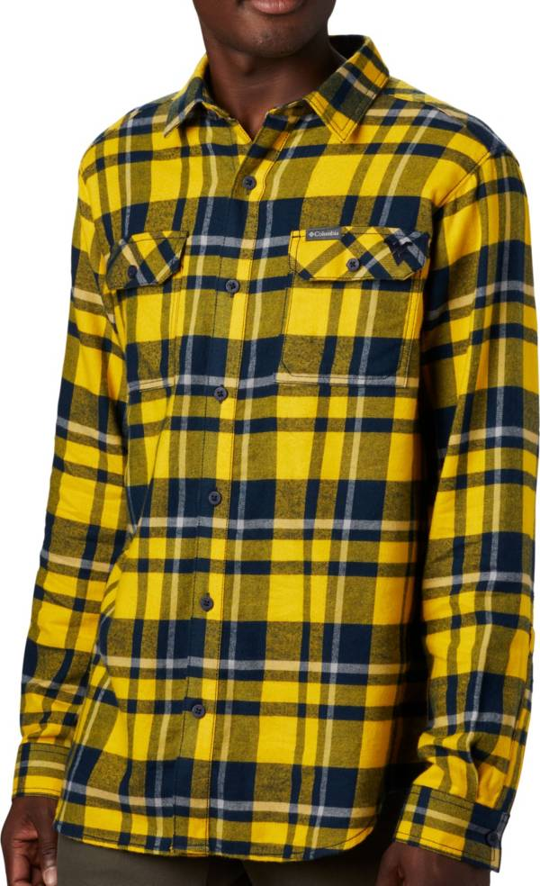 Columbia Men's West Virginia Mountaineers Blue Plaid Flare Gun Flannel Long Sleeve Button Down Shirt product image