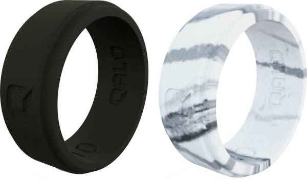 QALO Men's Black and Marble Silicone Rings – 2 Pack product image