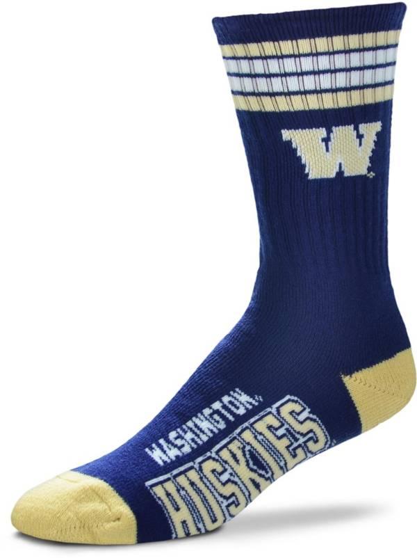 For Bare Feet Washington Huskies 4-Stripe Crew Socks product image