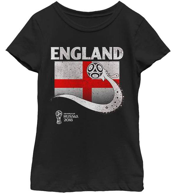 Fifth Sun Youth Girls' 2018 FIFA World Cup England Flag Ball Black T-Shirt product image